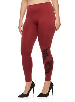 Plus Size Velvet Paisley Graphic Leggings - 1969061632149