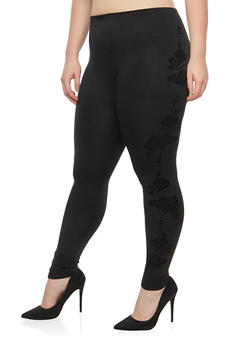Plus Size Velvet Rose Graphic Leggings - 1969061632179