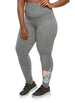 Plus Size Floral Graphic Leggings - 1969061632229