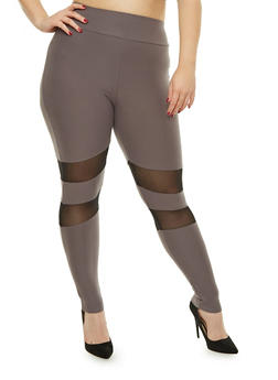 Plus Size Soft Knit Mesh Insert Leggings - 1969061632269