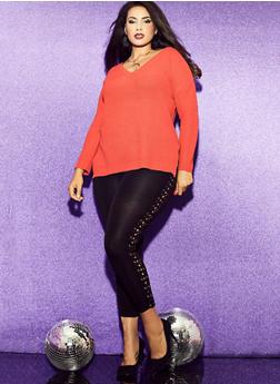 Plus Size Fleece Lined Side Lace Up Leggings - 1969061632389