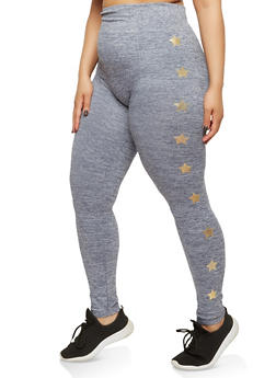 Plus Size Pintuck Star Print Leggings - 1969061632495