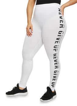 Plus Size Never Give Up Graphic Leggings - WHITE - 1969061635312