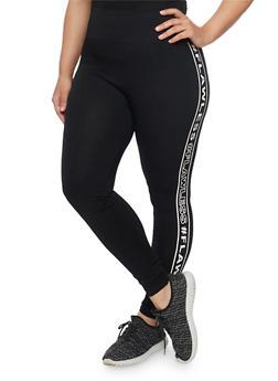 Plus Size Flawless Graphic Leggings - BLACK - 1969061635330