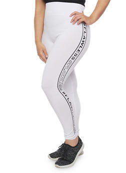 Plus Size Flawless Graphic Leggings - WHITE - 1969061635330