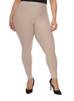 Plus Size Soft Knit Solid Leggings - 1969061636060