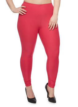 Plus Size Soft Knit Solid Leggings - 1969061636060