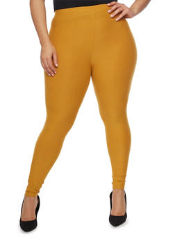 Plus Size Soft Knit Solid Leggings - MUSTARD - 1969061636060