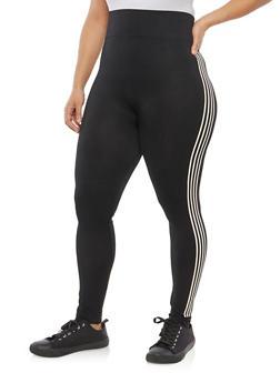 Plus Size Side Striped Leggings - 1969061636063