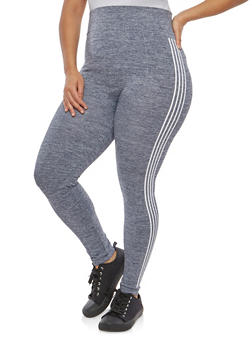 Plus Size Side Striped Leggings - 1969061636063