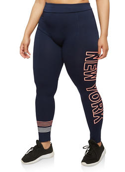 Plus Size New York Graphic Leggings - 1969061636129