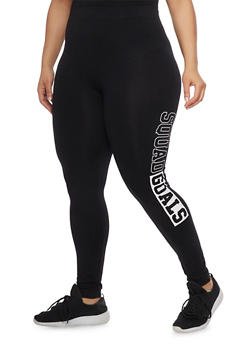 Plus Size Squad Goals Graphic Leggings - 1969061636169
