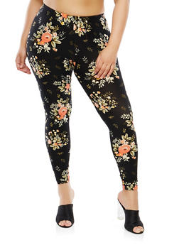 Plus Size Floral Soft Knit Leggings - 1969061636393