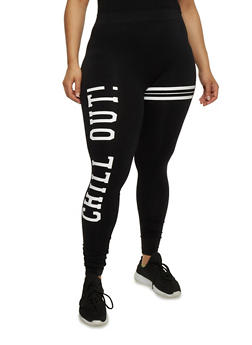 Plus Size Chill Out Graphic Leggings - 1969061639016