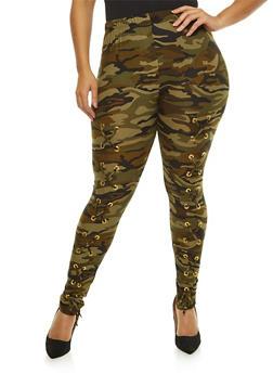 Plus Size Camo Lace Up Leggings - 1969062707660