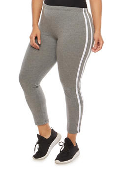 Plus Size Athletic Stripe Leggings - 1969062708005