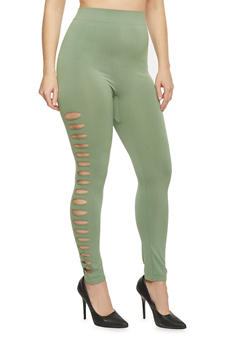 Plus Size High Waisted Laser Cut Leggings - 1969062900005