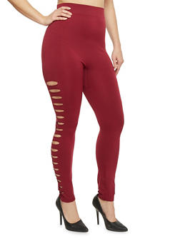 Plus Size High Waisted Laser Cut Leggings - BURGUNDY - 1969062900005