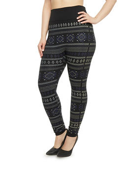 Plus Size High Waisted Aztec Print Leggings - 1969062900081