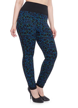Plus Size Geometric Print Leggings - 1969062900091