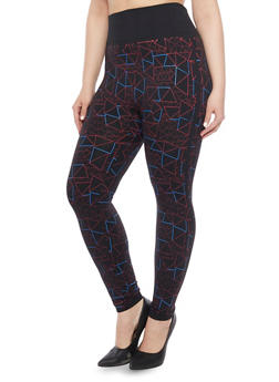 Plus Size High Waisted Leggings with Geometric Print - 1969062900093