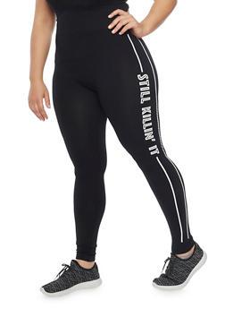 Plus Size Killin It Graphic Activewear Leggings - BLACK-W - 1969062900650