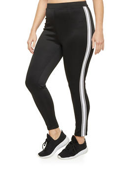 Plus Size Track Leggings with Striped Sides - 1969062902001
