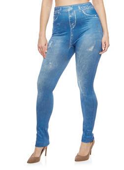 Plus Size Denim Print Leggings - 1969062902596