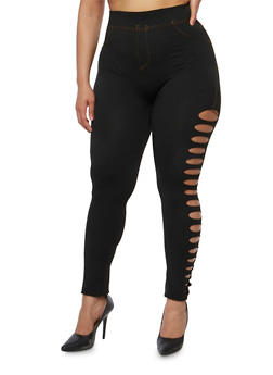 Plus Size Jeggings with Lasercut Sides - 1969062903401