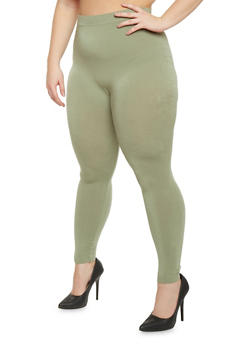 Plus Size Solid High Waisted Leggings - 1969062903584