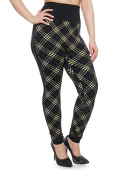 Plus Size Fleece Plaid Print High Waisted Leggings - BLACK-IVORY - 1969062903700