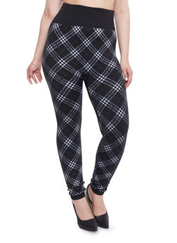 Plus Size Fleece Plaid Print High Waisted Leggings - BLACK/WHITE - 1969062903700