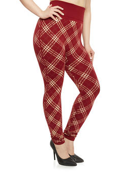Plus Size High Waisted Plaid Leggings - 1969062903701