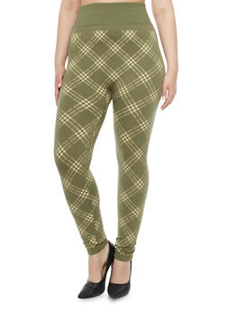 Plus Size Fleece Plaid Print High Waisted Leggings - 1969062903703