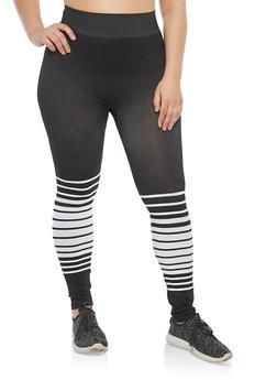 Plus Size Striped Detail Leggings - 1969062905290