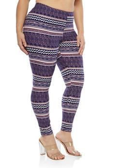 Plus Size Soft Knit Border Print Leggings - 1969062906137