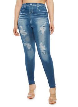 Plus Size Denim Knit Leggings - 1969062906304