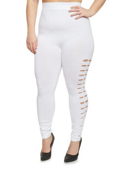 Plus Size High Waisted Double Laser Cut Side Leggings - 1969062906315