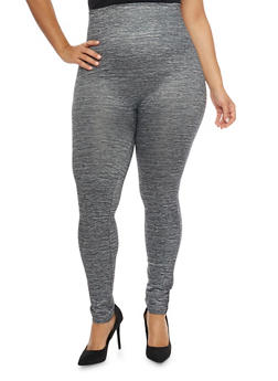 Plus Size High Waisted Leggings in Space Dye Knit - 1969062906349