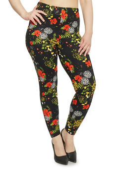 Plus Size High Waisted Floral Leggings - 1969062906448