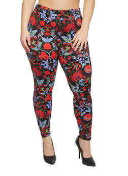 Plus Size Mixed Floral Print Leggings - 1969062906469