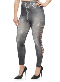 Plus Size Denim Printed Laser Cut Leggings - 1969062906497
