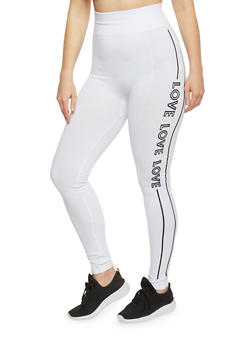 Plus Size High Waisted Graphic Activewear Leggings - WHITE-BLACK - 1969062906506