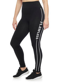 Plus Size High Waisted Graphic Activewear Leggings - BLACK/WHITE - 1969062906506