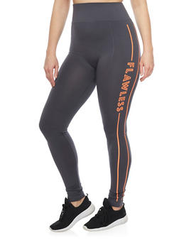 Plus Size Activewear Leggings with Flawless Graphic - 1969062906507