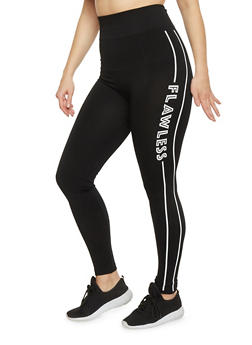 Plus Size Activewear Leggings with Flawless Graphic - BLACK/WHITE - 1969062906507