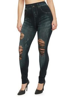 Plus Size Ripped Denim Printed Leggings - 1969062906514