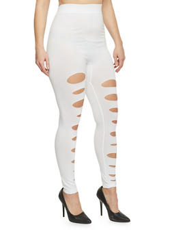 Plus Size Slashed Solid Leggings - WHITE - 1969062906516