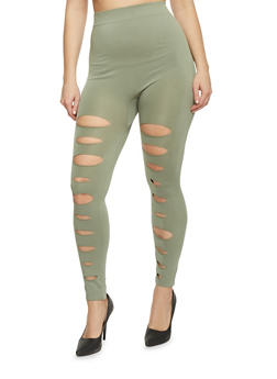 Plus Size Slashed Solid Leggings - 1969062906516