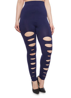 Plus Size Slashed Solid Leggings - 1969062906516